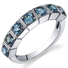 London Blue Topaz Band Ring Sterling Silver Rhodium Nickel Finish 175 Carats Size 6 -- You can find more details by visiting the image link.Note:It is affiliate link to Amazon. #commentlike