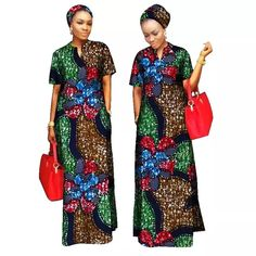 Buy African Styles Clothing Women Riche Bazin Straight Cotton Material Free Head Scarf Lady Long Dress Maxi Size at Wish - Shopping Made Fun African Maxi Dresses, African Attire, African Wear, African Clothes, Style Africain, Island Outfit, Coats For Women, Clothes For Women, Maxi Robes
