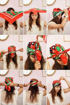 bandana binden anleitung kopftuch turban - All For Colors Hair Scarf Hairstyles, Summer Hairstyles, Cool Hairstyles, Creative Hairstyles, Cute Bandana Hairstyles, Hairstyles 2018, Popular Hairstyles, Everyday Hairstyles, Latest Hairstyles