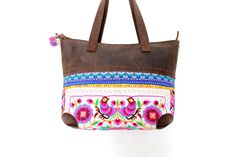 Genuine Leather Tote Bag Embroidered Hmong Fabric by ThaiHandbags