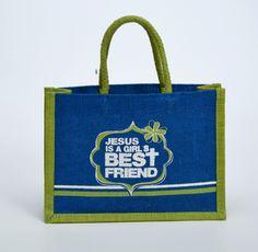 Jesus is a Girl's Best Friend Mini Jute Tote Bag