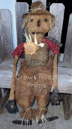 Primitive Canvas Rag stuffed OOAK Sigmoyed Scarecrow Doll with sunflower + crow…