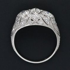 Early Art Deco Marquise Diamond Center Three Stone Ring - 10-1-5261 - Lang Antiques