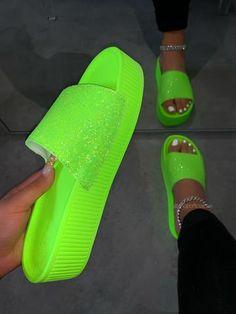 Bling Sandals, Trendy Sandals, Fashion Slippers, Fashion Shoes, Crocs Shoes Women, Gucci Nike, Platform Flip Flops, Cute Slippers, Cute Nikes