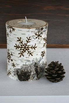 Birch candle holders with snowflakes