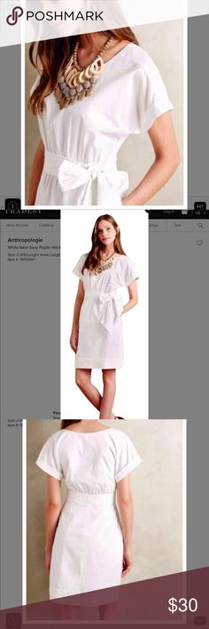 """Anthropology HD in Paris Dress White double lines Cotton Dress Approximate measurements: Bust 34"""" Waist 27"""" Length 35"""" Anthropologie Dresses Midi"""