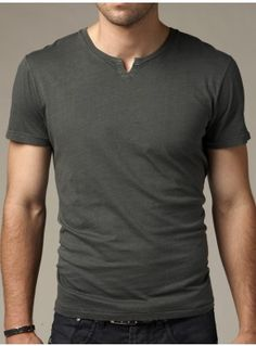 Crew neck tee with V detail