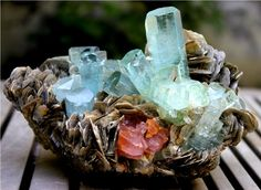 1500 Gram Top Quality Damage Free AQUAMARINE Crystals Bunch with APATITE & Mica