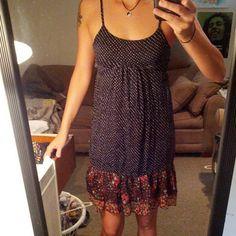 Sheer polka dot dress Beautiful dress with adjustable straps zip back and black slip. Lays above knee Xhilaration Dresses