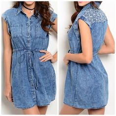 Casual Denim Dress Denim dress with a draw string waist with cuffed sleeves and pocket detailing in the front. Dresses Mini