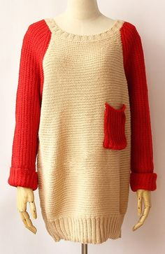 Apricot ContrastRed Long Sleeve Pocket Sweater