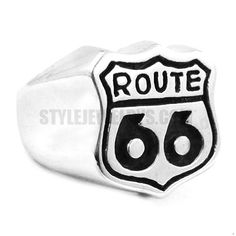 Stainless Steel Route 66 Ring Mother Road USA Highway Ring SWR0357