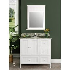 Willow Creek Cottage 36 Inch Single Sink Vanity Set with St. Cecilia Granite Top and Back Splash Don't know if I like the beadboard front