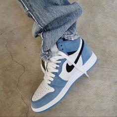 JORDAN 1 BLUE by melvincustom Dr Shoes, Cute Nike Shoes, Swag Shoes, Cute Nikes, Cute Sneakers, Nike Air Shoes, Hype Shoes, Shoes Sneakers, Nike Custom Shoes