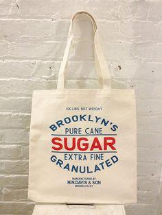Screen printed canvas tote bag - Sugar sack - Made in Brooklyn, NY