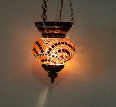 Moroccan lantern mosaic hanging lamp glass chandelier light lampen candle h 006 #Handmade #Moroccan