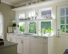 open wooden shelves for kitchen windows, modern kitchen design and organization ideas
