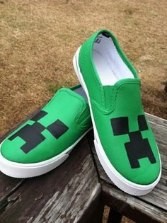 Hey, I found this really awesome Etsy listing at https://www.etsy.com/listing/175311173/minecraft-shoes-canvas-creeper-sliponbig