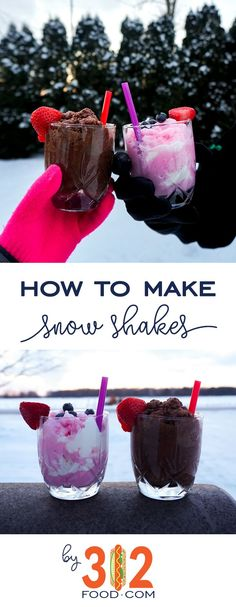 How to make snow shakes -- the best winter dessert! Only 3 ingredients. via Desserts How to Make Snow Shakes Winter Desserts, Sweet Desserts, Healthy Desserts, Easy Desserts, Delicious Desserts, Dessert Recipes, Yummy Food, Winter Recipes, Drink Recipes