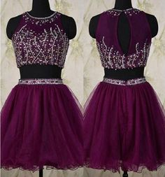 2 Pieces A-line O-neck Sleeveless Beaded Purple Tulle Homecoming Dresses,Short Prom Dresses