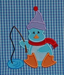 Penguin Fishing Applique, Fringe - 3 Sizes!   Winter   Machine Embroidery Designs   SWAKembroidery.com Applique for Kids