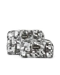 NEW KENNETH COLE REACTION Black and Silver 2 Piece Party Girl Cosmetic Cases #KennethColeReaction