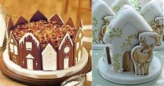 gingerbread house cakes from Pinterest(left) and by Nevie's Cakes (right)