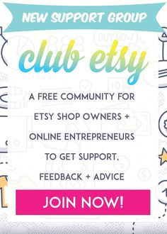 Club Etsy - Have you ever thought about opening an Etsy shop to sell your goods? Do you have an Etsy shop but are not getting any sales? Are you getting sales on Etsy but are ready to make more? I have created a new free support group, a community for Etsy shop owners and online entrepreneurs to get support, feedback, and advice. Join now!