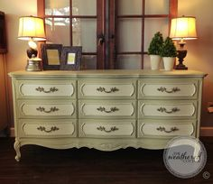 Vintage Dresser painted in Versailles and Old White Chalk Paint®, clear and dark wax. At The Weathered Cottage in Austin, TX. www.facebook.com/theweatheredcottage