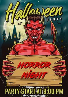 Colorful Halloween Party Poster design with Devil. Created by DGIM Studio. Find awesome Halloween designs on our website.