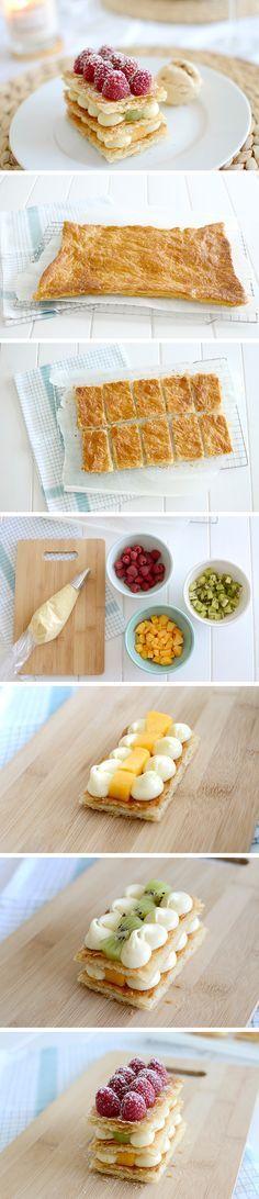 Pastry cream and fruit millefeuille - Milhojas de crema y frutas