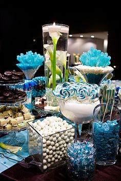 Candy bar. Lily center piece.