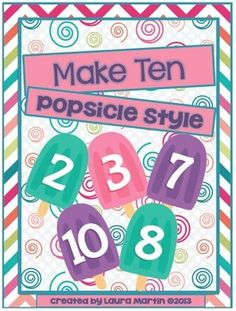 Make Ten-Popsicle Style, playing like a Memory game, but adding to get the sum of Record pairs on a worksheet Kindergarten Games, Preschool Math, Math Classroom, Teaching Math, Math Fact Practice, Math Talk, Math Resources, Math Activities, Making Ten
