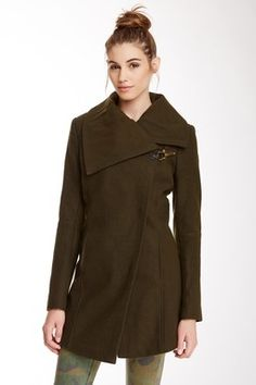 Knit Asymmetrical Front Lapel Wool Blend Peacoat