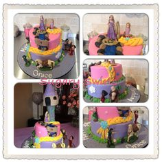 #Tangled #rapunzel #birthday #birthdaycake #sugaryswirlsco Custom Birthday Cakes, Tangled Rapunzel, Desserts, Food, Tailgate Desserts, Deserts, Essen, Postres, Meals