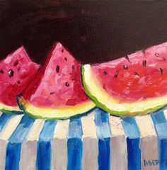 """Original watermelon kitchen art home decor acrylic painting"" - Original Fine Art for Sale - © Alice Harpel"