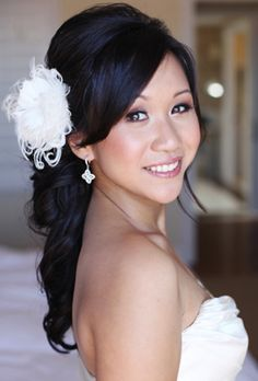 Flowers in hair, asian wedding hair, wedding hair, asian bridal, wedding 1940s Wedding Hair, Asian Wedding Hair, Hair Wedding, Wedding Makeup, Wedding Veils, Wedding Bride, Elegant Hairstyles, Bride Hairstyles, Hairstyles With Bangs