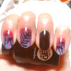 DIY nailart palm trees, black, ombre pink & purple