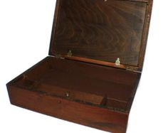 Antique Wood Lap Desk - Early Writing Box - Writing Slope - Portable Desk - Travel Desk