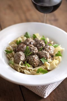 Porcini Stroganoff with Turkey Mini-meatballs. Good fresh porcini are hard to come by, even when they're in season, so we use our reliable and flavorful standby, the estimable dried porcini mushroom.  Not only are there plenty of plumped up porcini mushrooms in the sauce, the meatballs themselves are also brimming with robust porcini flavor & aroma. The secret ingredient? Porcini powder, made from oven-toasted dried porcini mushrooms.