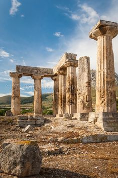 The ruins of the Temple of Apollo in the ancient city of Corinth, Greece.