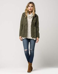 FULL TILT Hooded Twill Womens Anorak Jacket
