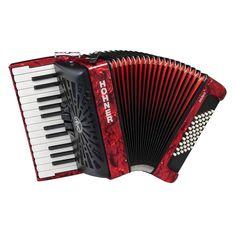 Hohner Bravo II 48 Bajos Acordeon De Piano Rojo