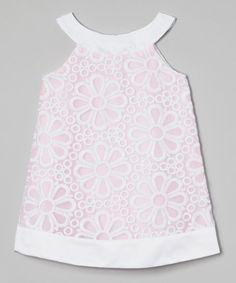 Look at this #zulilyfind! Pink Daisy Yoke Dress - Girls by Sweet Kids #zulilyfinds