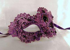 Purple macamé masquerade mask.