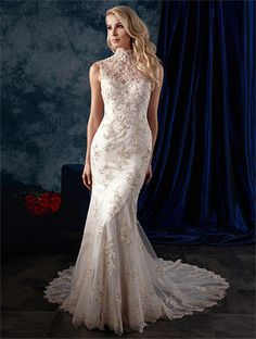 Alfred Angelo Style 979: fit and flare wedding dress featuring high neck and low sheer back