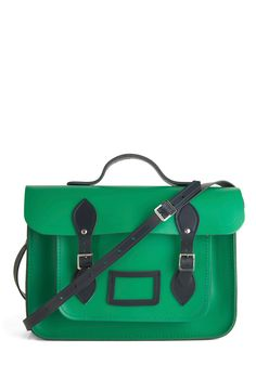 "Upwardly Mobile Satchel in Green and Navy - 14"" by The Cambridge Satchel Company  - Green, Solid, Buckles, Work, Casual, Scholastic/Collegiate, Leather, Blue"