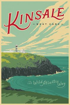 Wild Atlantic Way, Kinsale, Ireland. Vintage Style Travel Poster