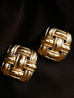 Napier Large Vintage Clip On Earrings Gold Tone Basket Weave Dual Fastening Comfort Clip 80s Statement Designer Signed Jewelry by dazzledbyvintage on Etsy