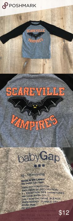 Baby Gap Halloween Baseball Tee Size 12-18 months black and grey raglan tee with Halloween bat Appliqué.  100% cotton.  VGUC. GAP Shirts & Tops